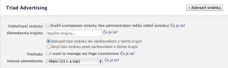 Obmedzenia prístupu na Facebook page